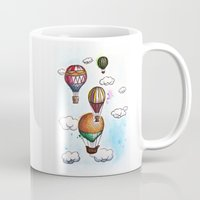 hot air balloons Mugs featuring Hot air balloons by Coffeeholic Art