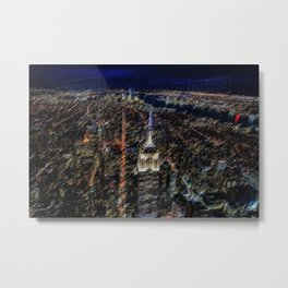 Empire State Building NYC Skyline Landscape Painting by Jeanpaul Ferro Metal Print