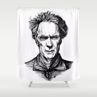 clint eastwood Shower Curtains featuring Clint Eastwood by Oriane Mlr