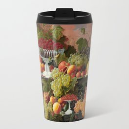 Two-Tiered Still Life with Fruit and Sunset Landscape Travel Mug