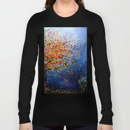 Fall Trees with Leaves Blowing in the Wind by annmariescreations Long Sleeve T-shirt