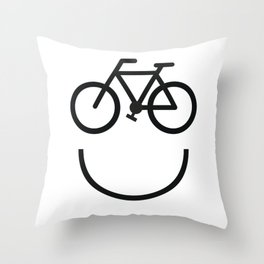 Bike face, bicycle smiley Throw Pillow