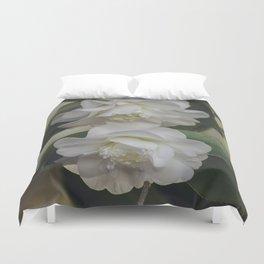 Romantic White Vintage Flowers, Nature Prints, Flower Photography Duvet Cover