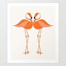 Tropical Flamingos Art Print