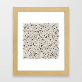 Terrazzo Pattern - Neutral Beige, Blue, Light Orange Framed Art Print