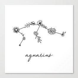 Aquarius Floral Zodiac Constellation Canvas Print