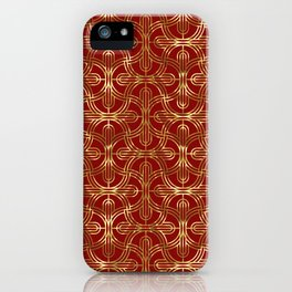 Art-deco gold foil look & burgundy pattern iPhone Case