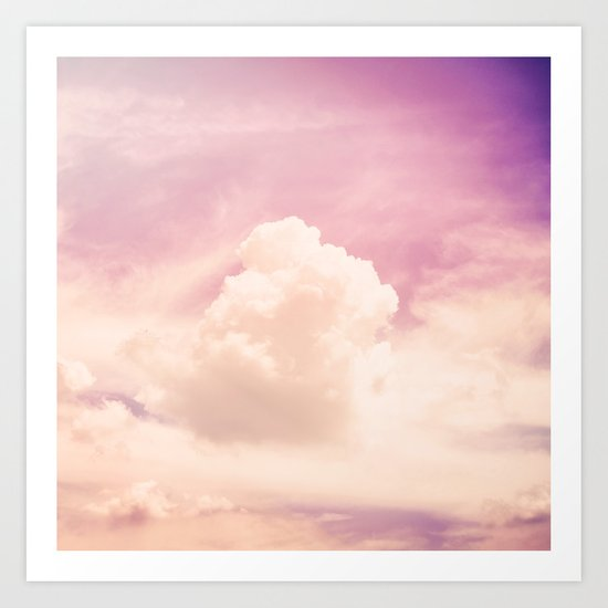 Freedom and Dreams, Pink Sky and Clouds, Heaven Art Print