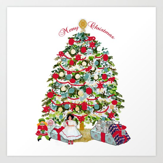 Underneath the Christmas Tree Art Print