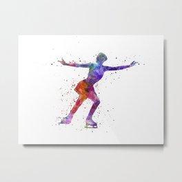 Figure skating 1 in watercolor with splatters Metal Print