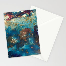 Très Céleste - abstract painting in deep blue, gold, aqua. fuschia and pearl Stationery Cards