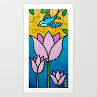 The Lilies and the Swallow Art Print