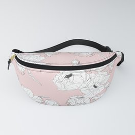 Peonies on pink Fanny Pack