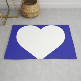 Heart (White & Navy Blue) Rug
