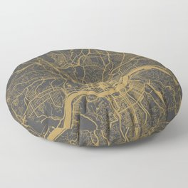 Cincinnati map ocher Floor Pillow