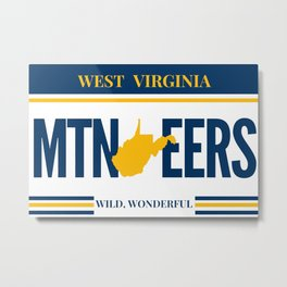 West Virginia State Map License Plate Gifts Metal Print