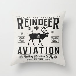 Reindeer Aviation - Christmas Throw Pillow