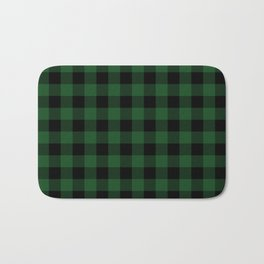 Jumbo Forest Green and Black Rustic Cowboy Cabin Buffalo Check Bath Mat