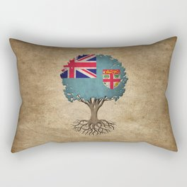 Vintage Tree of Life with Flag of Fiji Rectangular Pillow