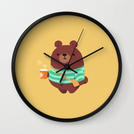 coffee bear Wall Clock