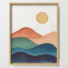 Colorful Abstract Mountains Serving Tray