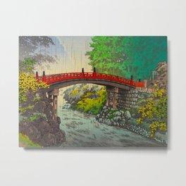 Vintage Japanese Woodblock Print Garden Red Bridge River Rapids Beautiful Green Forest Landscape Metal Print