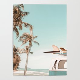 Retro Camper Van with Surfboard at the Beach Poster