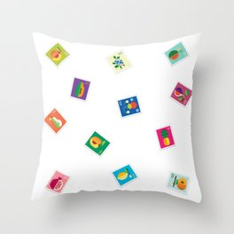 Fruit Stamps 12 Throw Pillow