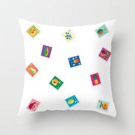 Fruit Stamps 12 Throw Pillow
