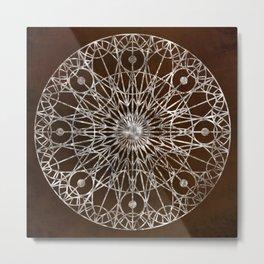 Rosette Window - Brown Metal Print