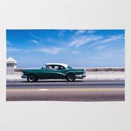 Vintage green car Rug