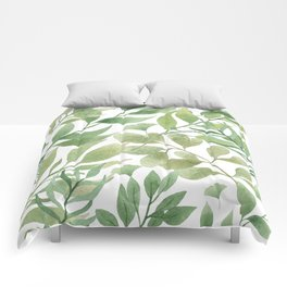 Green Tropical Leaves Comforters