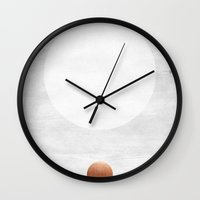 copper Wall Clocks featuring white & copper by LEEMO