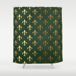 Green and Metallic Gold Fleur-de-lis Shower Curtain