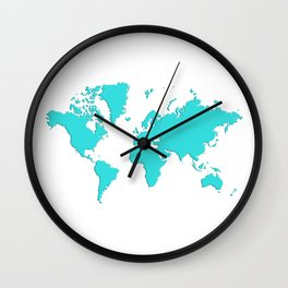 World with no Borders - turquoise Wall Clock