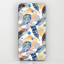 Geometrical blue yellow watercolor bohemian feathers iPhone Skin
