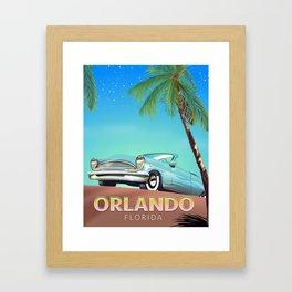 Orlando Florida vintage travel poster, Framed Art Print