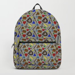 Retro 8 bit pixel video game icons Backpack