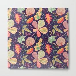 Yellow Leaves On Purple Crayon Drawing, Vibrant Autumn Pattern Metal Print
