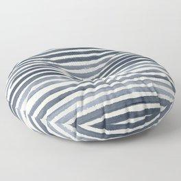 Simply Shibori Stripes Indigo Blue on Lunar Gray Floor Pillow