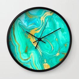 Geode 52 Gold Stone Slab Wall Clock