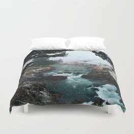 Rustic Creek in snow Duvet Cover