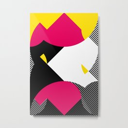 This is atypical. I see a white face with a yellow eye. A Black fish. Mountains. Metal Print