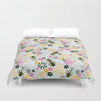 bees Duvet Covers featuring Bees by Yellow Button Studio