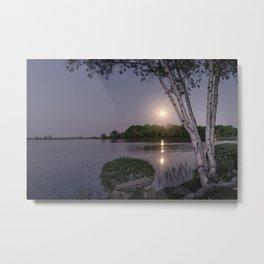 Niles Pond Moon Rise Metal Print