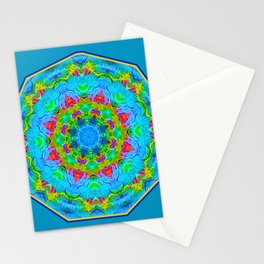 Red Flower Blue Mandala Stationery Cards