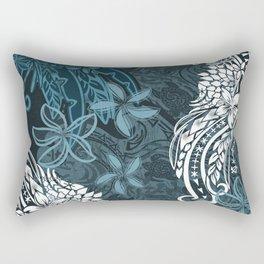 Polynesian Distressed Tribal Layered Print Rectangular Pillow
