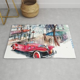 Red retro car Rug