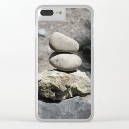 Balance Stacked Rocks Yellowstone National Park Clear iPhone Case