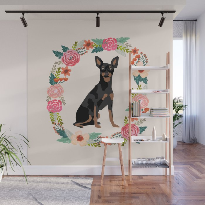 miniature pinscher floral wreath dog breed pet portrait pure breed dog lovers Wall Mural